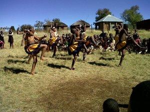 Boys doing a traditional dance.
